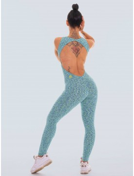 Colorful Aquamarine lycra jumpsuit