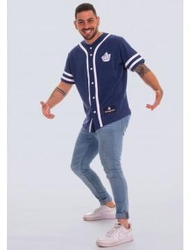 Baseball style t-shirt blue