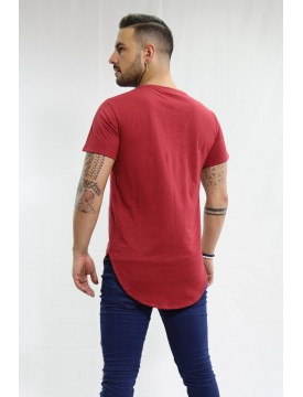 Camiseta One Long burdeos